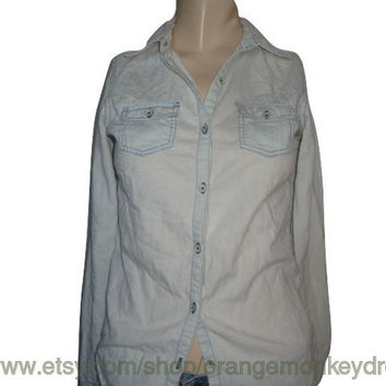 vintage Washed out chambray button up light blue 100% cotton oxford  xs small retro shirt women hipster grunge