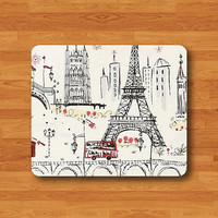 French Paris Red Minibus Eiffel Tower Painted Mouse Pad MousePad Desk Deco Work Pad Mat Rectangle Personal Ecofriendly Sustainable Desk