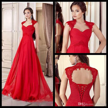 A-Line Prom Dresses,Red Prom Dress,Long Evening Dress