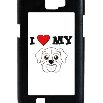 I Heart My - Cute Bulldog - White Galaxy Note 2 Case  by TooLoud