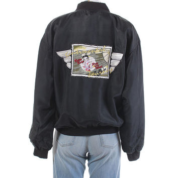 "1996 Betty Boop Silk Souvenir Bomber Jacket ""Sentimental Journey"" Patch Black Windbreaker 1990's Vintage Clothing Women's Size Medium-Large"