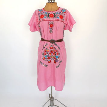 Vintage 70s 80s Mexican Folk Dress Pink Cotton Floral Embroidered Boho Summer Sundress Indie Folk Hippie Peasant Festival Medium