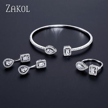 ZAKOL Brand Fashion Design Jewelry Set Sparking CZ Stone Earring 0546c11fc