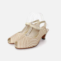 Vintage 40s 2-Tone Ivory Mesh HEELS / 1940s Ivory and Pale Cocoa Leather & Mesh Peep Toe Shoes