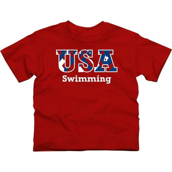 USA Swimming Youth Motif T-Shirt - Red - http://www.shareasale.com/m-pr.cfm?merchantID=7124&userID=1042934&productID=527509562 / USA Swimming