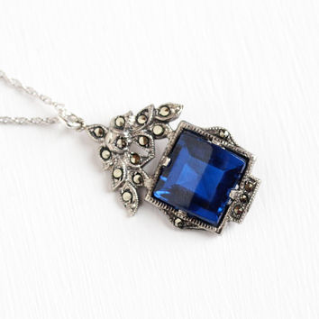 Vintage Art Deco Sterling Silver Created Blue Spinel Marcasite Pendant Necklace - 1930s Cobalt Blue Synthetic Stone Flower Leaf Jewelry