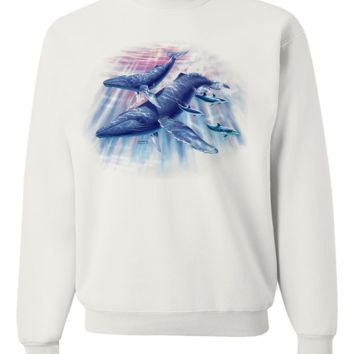 Humpback Whales and Dolphins By Royce Crewneck Sweatshirt