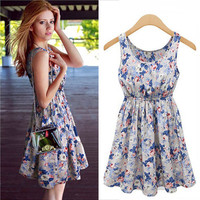Women's Fashion Female Round-neck New Arrival Fashion Slim Summer Stylish Print One Piece Dress = 5826513729