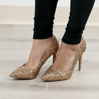 All That Sparkles Bronze Gold Sequin Pumps