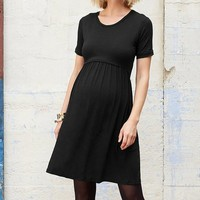 Black Limbo Maternity/Nursing Short-Sleeve Dress
