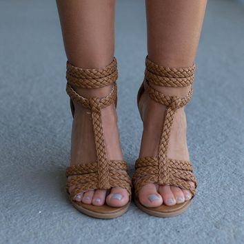 True Match Tan Braided Heels