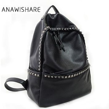 ANAWISHARE Women Backpacks Rivet Black Soft Washed Leather Bags Shoulder Schoolbags For Girls Female Backpacks Travel Bag Hg99
