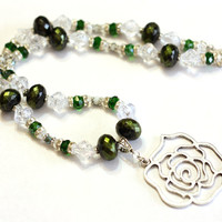 Green Rose Handmade Necklace: Silver Rose Pendant on green and crystal beaded necklace - Women's Statement Necklace