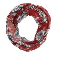 Dark Red Combo Floral Print Infinity Scarf by Charlotte Russe