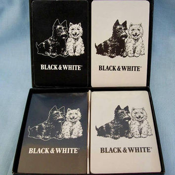 Vintage Black and White Plastic Coated Playing Cards