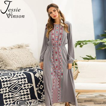 Jessie Vinson Bohemian Print Long Sleeve Long Dress Elegant Plus Size Maxi Dress Boho Dresses for Women Female Elastic Waist