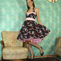 50's vintage dress full skirt mille fleurs flowers for a petticoat Pinup Cuty Tailor Made