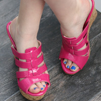 Hot Pink Wedged Sandal