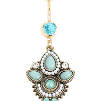 14G Gold Turquoise Stone Filigree Curved Navel Barbell