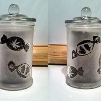 Etched Glass Medicated Candy Stash Jar- Free UPGRADE to Priority Mail within the US