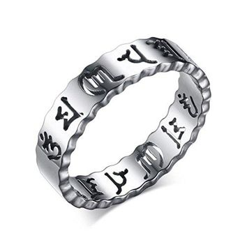 5mm Titanium Stainless Steel Open-work Om Mani Padme Hum Religious Ring Wave Edges Silver