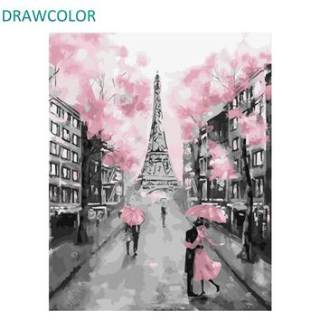 DRAWCOLOR Frame Romantic Paris DIY Painting By Number Acrylic Paint On Canvas Modern Wall Art Picture Painting Calligraphy 40x50