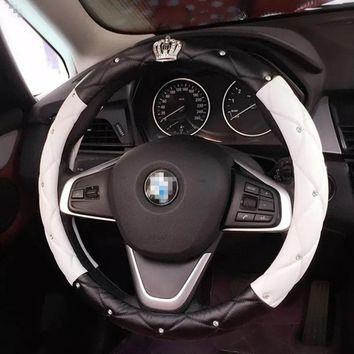 Rhinestone Crystal Diamond Women Car Steering Wheel Cover