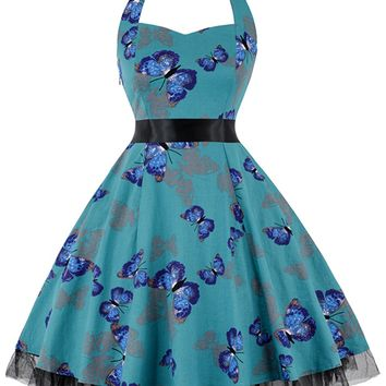 Atomic Turquoise Butterfly Halter Swing Dress