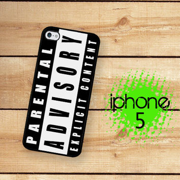 iPhone 5S Case | iPhone 5 Parental Advisory Explict Content  | Hard Case for iPhone 5 Plastic or Rubber Trim