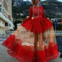Red Hollow-out Patchwork Lace Tulle See Through Long Sleeve Slim Formal Prom Elegant Maxi Dress