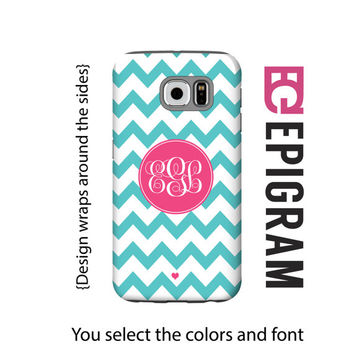 Aqua chevron monogram Samsung Galaxy S6 Edge case, monogram Galaxy S5 case, aqua chevron Galaxy S4 case, aqua Galaxy S6 case