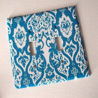 Shabby Turquoise Switchplate Art Cover or Black