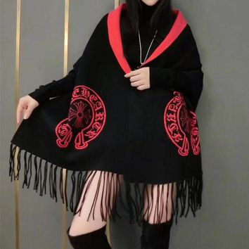 ONETOW Chrome Hearts' Women Temperament Fashion Horseshoe Letter Cross Pattern Tassel Two Sides Knit Cashmere Shawl Coat