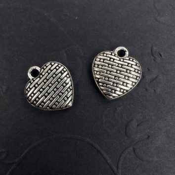 10 Heart Charms, Basket Weave, Wedding, Tibetan Silver, 12mm x 11mm C24