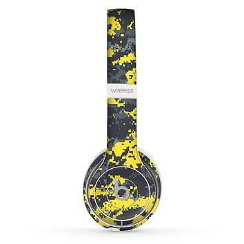 The Bright Yellow and Gray Digital Camouflage Skin Set for the Beats by Dre Solo 2 Wireless Headphones