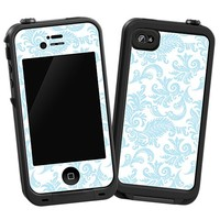 Soft Chateau Blue Damask Skin  for the iPhone 4/4S Lifeproof Case by skinzy.com