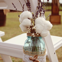Mason Jar Wedding Decorations Hanging Mason Jar Twine Covered Lids Reception Decorations Country Spring Wedding Set of 10