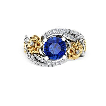 Hot Sale Big Blue Crystal Stone Wedding Rings For Women Fashion Gold Color Rose Flower Caved Finger Ring Accessories