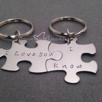 I love you, I Know, Couples Keychains, Puzzle Piece Keychains, Couples Gift, Valentines Gift, Valentines Day