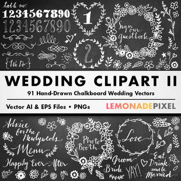 Wedding Chalkboard Clipart II - DIY Wedding Invitation, Wedding Wreaths and Signage, Table Numbers, Hand Drawn Fonts, Hand Drawn Clip Art