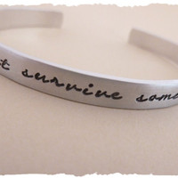 JSS Just Survive Somehow Inspirational Cuff jewelry gift for her sadness mourning loss depression encouragement gift for her bracelet