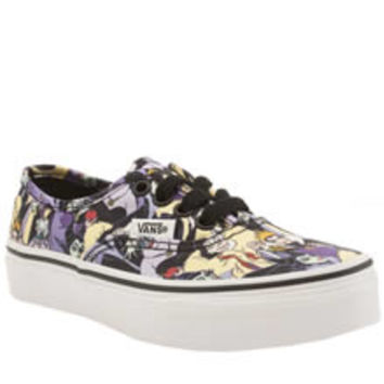 vans black & purple authentic disney villains girls junior