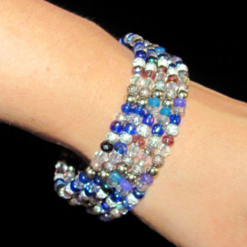 Blue Purple Multicolor Bead Bracelet Memory Wire Stacked fashion Bracelet Wrapped thanksgiving gift idea 5 Strand Memory Slinky five loop