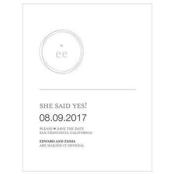Monogram Simplicity Save The Date Card - Modern (Pack of 1)