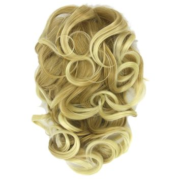 Soowee Claw Ponytail Curly Synthetic Hair Blonde Ombre Clip In Hair Extensions Little Pony Tail Hair on Clips Chignon Fairy Tail