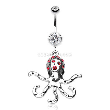 Octopus Sparkle Belly Ring (Clear/Red)