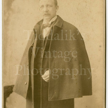 Cabinet Card Photo - Portrait Caped Victorian Young Man with Mustache - Boughton Sons of Lowestoft and Thetford England