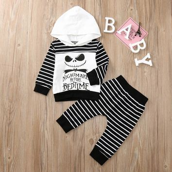Newborn Infant Baby Boy Clothes Skull Striped Tops Hooded Pants Halloween Clothes Outfits Set Children's Clothing Costumes Coats