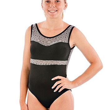 Girls Gymnastics Dance Leotard Black Nylon Fabric with Flower Mesh Insert by Lizatards Comes in Girls and Adult Sizes