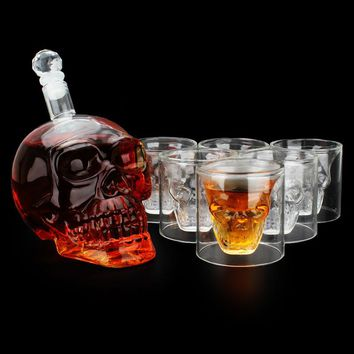 Royal-Infinity: Head skull face wine pot cups set terror glass kettle with 6 glasses 7.8